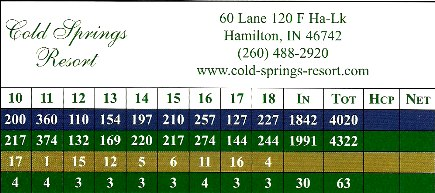 Cold Springs Golf Course,Hamilton, Indiana,  - Golf Course Photo
