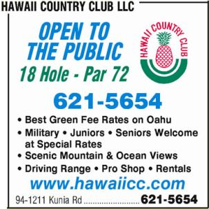 Golf Course Photo, Hawaii Country Club, Wahiawa, 96786