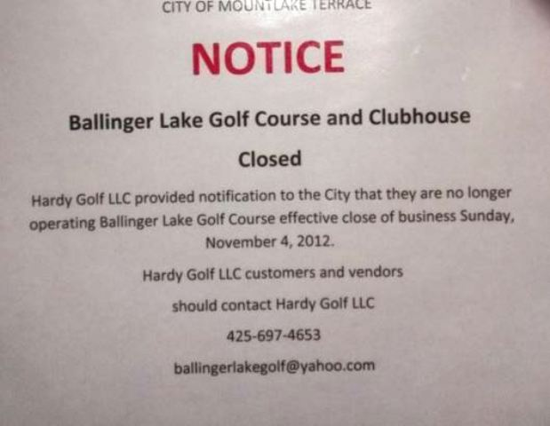 Ballinger Lakes Golf Course, CLOSED 2012